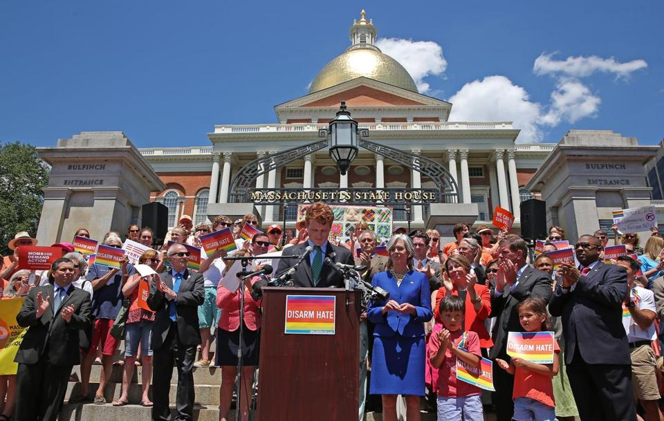 Congressman Joe Kennedy III spoke outside the State House in Boston.